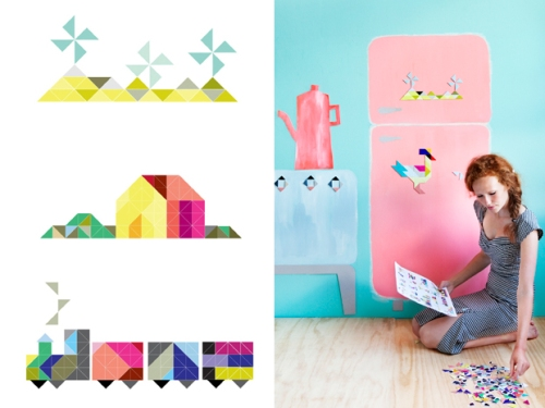 kids on roof magnetic cardboard set