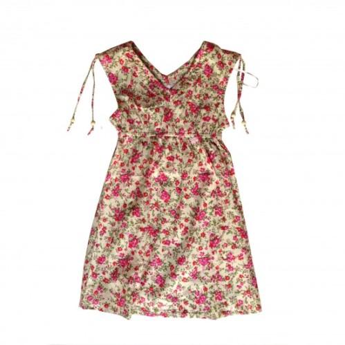 piri piri vestido com florzinhas rosa